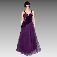 1950's Violet Tulle and Velvet Ball Gown