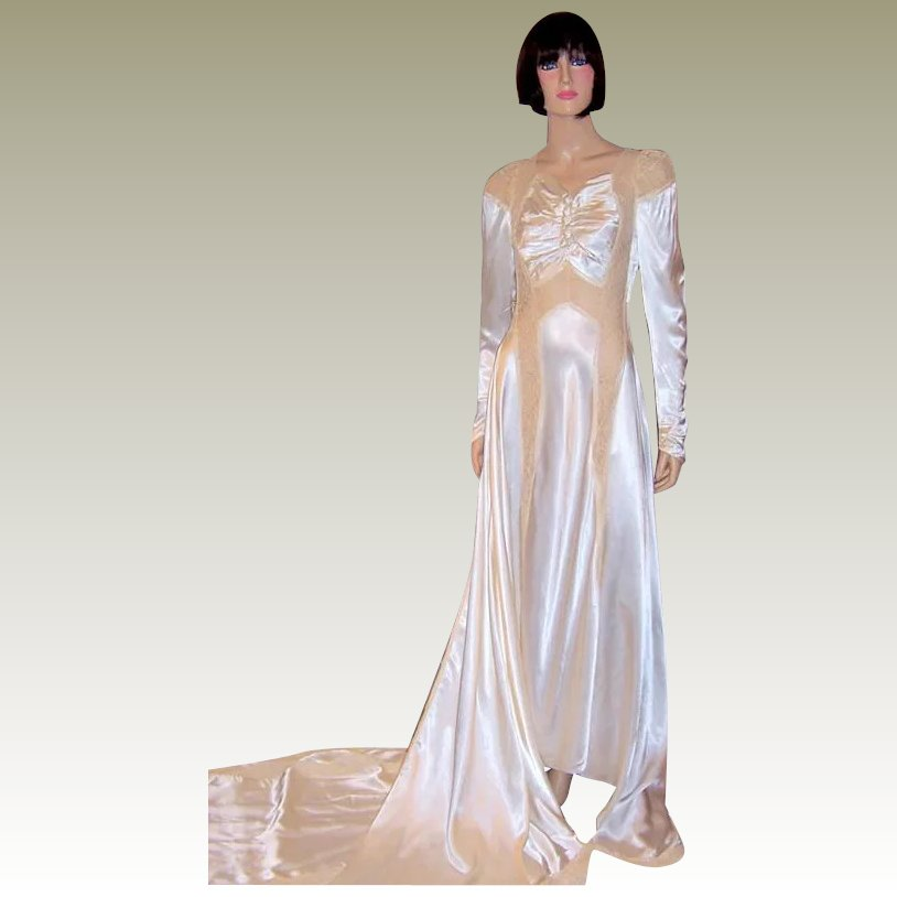 1940's Exquisitely Designed White Charmeuse Wedding Gown