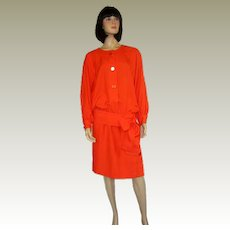 1970's Givenchy Nouvelle Tomato Red Blouse and Skirt Ensemble