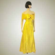 Exceptionally Gorgeous Gold Satin Evening Gown  with Wrap