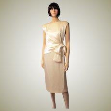 Giorgio of Beverly Hills-Soft White Charmeuse Cocktail/Wedding Dress