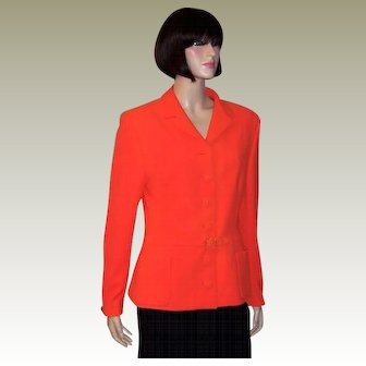 Gianni Versace Couture-Italy-Neon Orange Belted Jacket