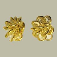 """""""Gloria Vanderbilt""""-Crystal Clip-On Earrings Encased in Gold-Tone Metal"""