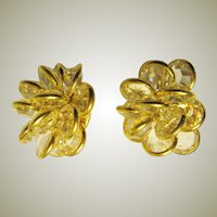 """Gloria Vanderbilt""-Crystal Clip-On Earrings Encased in Gold-Tone Metal"