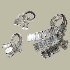 """Rare and Unusual """"Hollycraft"""" Brooch and Earring Set of Clear Rhinestones"""