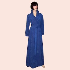 Halston, Ultramarine Blue, Ultrasuede Maxi-Coat