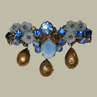 Impressive and Intricately Designed,  Blue, Pate de Verre Florets and Crystal Brooch, Unsigned, with Gold Pear-Shaped Dangling Beads