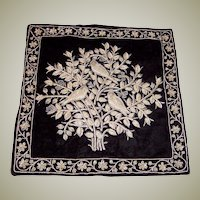 Extraordinary Indian Pillow Cover Embellished with Silver Metallic Embroidery