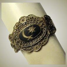 Hand-Made Ethnic Silver and Black Enamel Bracelet