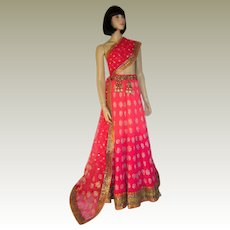 Magnificently Embroidered Sari and Matching Lehenga