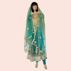 Women's Ethnic-Indian-Three-Piece Ensemble in Ombre Colors of Light and Darker Viridian Green with Gold Hand-Embroidery and Exquisite Embellishments