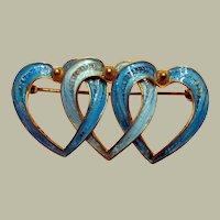 Gorgeous Vintage Italian Vermeil and Enameled Turquoise Triple Heart Brooch