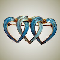Gorgeous Vintage Italian Vermeil and Enameled Turquoise Triple Heart Brooch