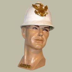 Men's Authentic, Antique Indian War Era White Calvalry Helmet with Eagle Plate