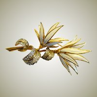 Handsome Jomaz (Joseph Mazer) Enameled Floral Brooch