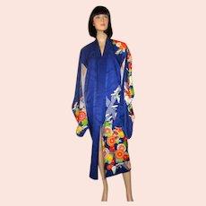 Japanese Cobalt Blue Kimono with Chrysanthemums