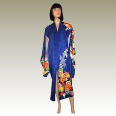 Japanese Cobalt Blue Silk Kimono with Chrysanthemums
