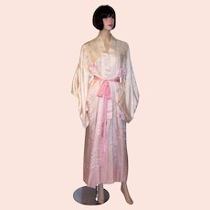 1920's White and Pink Hand-Embroidered Kimono with Ombre Treatment