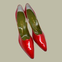 Fabulous and Flashy Pair of Cherry Red Stiletto Pumps by Joseph LaRose (New Old Stock, Never Worn)