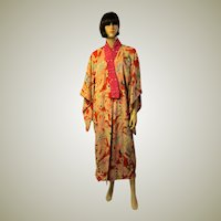 Japanese Printed Kimono, Early 20th Century, in Pink, Red, and Magenta
