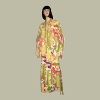 Japanese Floral Printed and Hand-Dyed Kimono