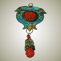 Antique Chinese Kingfisher Double-Sided Pendant