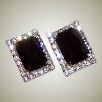 Large Black and Clear, Rectangular-Shaped, Rhinestone Clip-On Earring