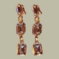 Long Dangle, Large Rectangular-Cut Rhinestone Earrings