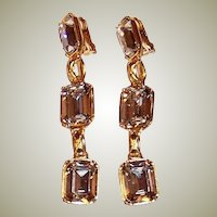 Long Dangle, Large Rectangular-Cut Rhinestone Earrings