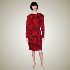 """Simple and Chic, """"Louis Feraud"""" Red and Black Cocktail Dress"""