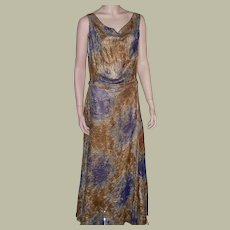 Exquisite 1930's, Art Deco, Bias Cut Prussian Blue and Gold Lame Gown