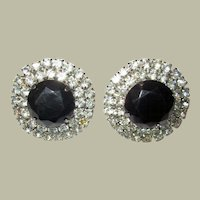 Large Rounded Clear Rhinestone Clip-On Earrings with Black Center Stone