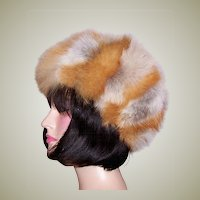 Luxurious Red, Gray, and White Fox Hat
