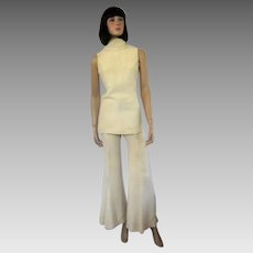 "1970's White Crepe Pant Suit Designed by ""Lynn Stuart for Mister Pants"""