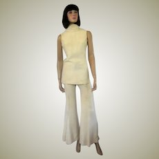 "1970's White Crepe Pant Suit Designed by ""Lynn Stuart for Mister Pants"""
