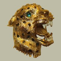 Fierce Leopard Three-Dimensional Brooch with Enamel Work and Green Stone Eyes