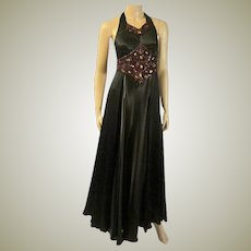 Late 1930's Black and Brown Charmeuse Jeweled Dance Gown