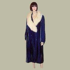 1920's Deep Prussian Blue Silk Velvet Coat with White Fox Collar-B. Altman & Company