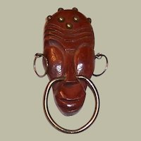 Large Wooden Brooch with African Motif