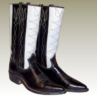 Men's 1940's Johnnie Walker-Black & White Cowboy Boots