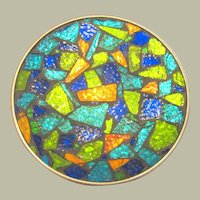 Mid-Century Modern Colorful, Textured Glass Mosaic Plate