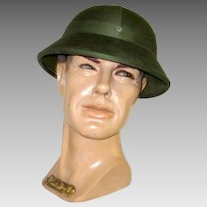Men's Vintage, North Vietnamese Army, Hunter Green Canvas Pith Helmet