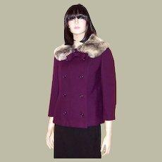 Dan Millstein New York-Paris-Violet Jacket with Chinchilla Collar