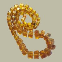Amber Necklace, Hand-Knotted with Graduated Beads