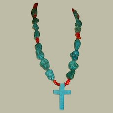 Rare and Unusual Native American Turquoise and Coral Beaded Necklace with Central Cross