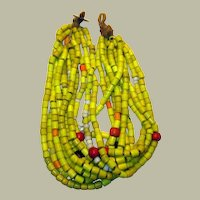Authentic Large Yellow Tile Beaded Necklace From Nagaland, Specifically From The Konyak Tribe