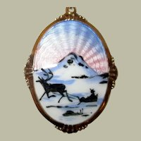 Norwegian Guilloche Enamel Sterling Pendant by Arne Nordlie