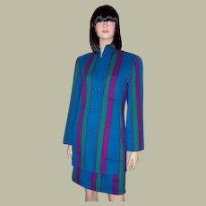 Oscar de La Renta Striped Suit in Turquoise, Violet, & Green