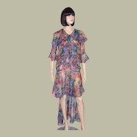 "Art Deco-""Original"" Mullet Dress-Blue Floral Printed Silk Chiffon Fishtail Gown"