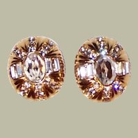 Large Oval-Shaped Clear Rhinestone Clip-On Earrings on Gold-Toned Metal